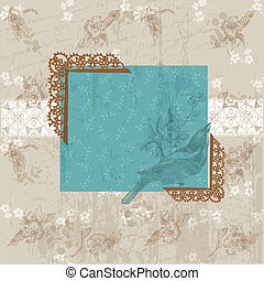 felicitatie, ouderwetse , -, uitnodiging, vector, floral, vogel, kaart