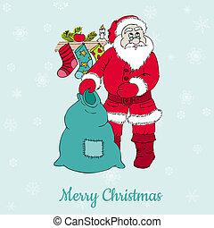 felicitatie, -, uitnodiging, vector, kerstman, kerstmis kaart