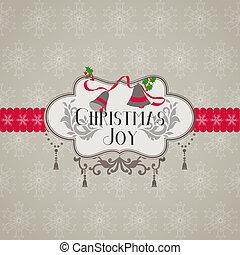 felicitatie, -, uitnodiging, vector, retro, kerstmis kaart