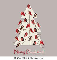 felicitatie, winter, -, boompje, vogels, uitnodiging, vector, retro, kerstmis kaart