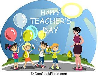 felicite, classroom., professor, crianças