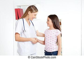 feliciteren, patiënt, arts