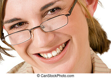 Business woman with reading glasses - close up