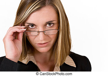 Business woman holding reading glasses