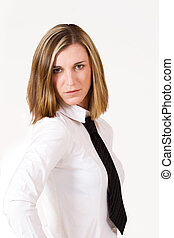 Business woman with white shirt and black tie