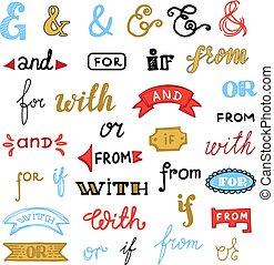 felirat, állhatatos, levél, nyomdászat, jelkép, elszigetelt, ábra, kézírásos, szeret, vektor, és jelet, háttér, meghívás, húzott, fehér, betűtípus, gépel, vagy, ha