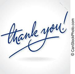 felirat, ön, hálát ad, (vector), kéz