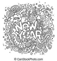 felirat, alapismeretek, új, kéz, háttér, év, doodles