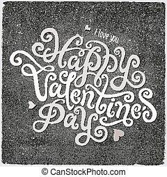Felirat, boldog,  valentines, Nap, kéz