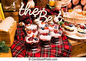 """felirat, cupcakes, fából való, best"""", """"the, kíván, finom, bogyók"""