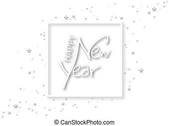 felirat, fehér, boldog, szöveg, év, új, kézírás
