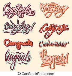 felirat, gratuláció, congrats, szöveg, írás, vektor, vagy