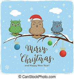 felirat, herék, elpirul háttér, baglyok, vidám christmas, tél