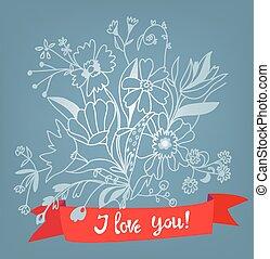 felirat, mód, szeret, -, ábra, retro, virágos, ön, kártya