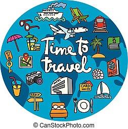 felirat, utazás, fogalom, ikon