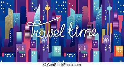 felirat, város, utazás, modern, ábra, idő, éjszaka, horizontális, logo.