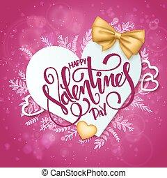 felirat, vektor, elágazik, szív alakzat, valentines, íj, nap, dolgozat, szórakozottan firkálgat, piros, arany-, szalag, boldog