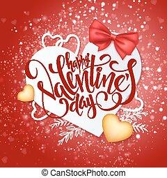 felirat, vektor, szív alakzat, valentines, íj, nap, dolgozat, háttér, piros, fényes, arany-, szalag, boldog