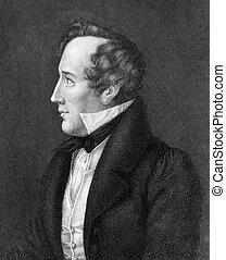 Felix Mendelssohn (1809-1847) on engraving from 1859. German...