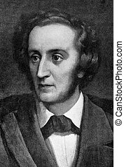 """Felix Mendelssohn (1809-1847) on engraving from 1908. German composer, pianist, organist and conductor of the early Romantic period. Engraved by unknown artist and published in """"The world's best music, famous songs. Volume 6"""", by The University Society, New York,1908."""