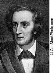 Felix Mendelssohn (1809-1847) on engraving from 1908. German...