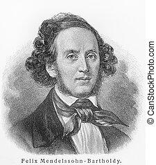 Felix Mendelssohn - Picture from Meyers Lexicon books...