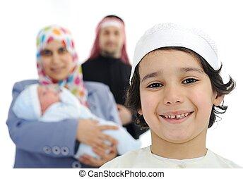feliz, árabe, família