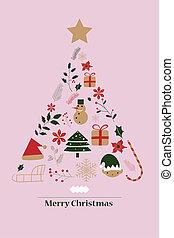 feliz, árvore., cartão natal