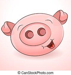 feliz, ícone, porca