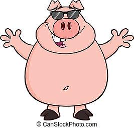 feliz, óculos de sol, porca