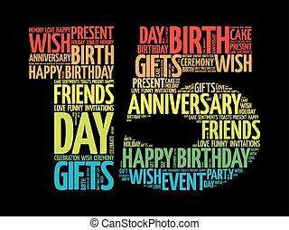 feliz, 1ö, aniversário, palavra, nuvem