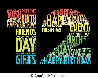 feliz, 12th, aniversário, palavra, nuvem