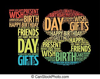 feliz, 18th, aniversário, palavra, nuvem