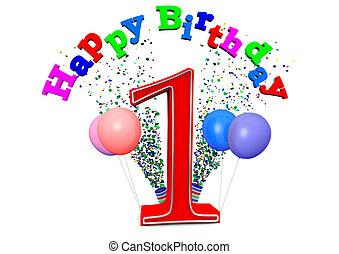 feliz, 1ero, cumpleaños