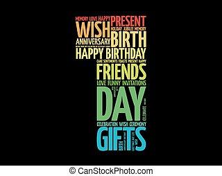 feliz, 1º, aniversário, palavra, nuvem