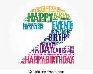 feliz, 2, cumpleaños, palabra, nube