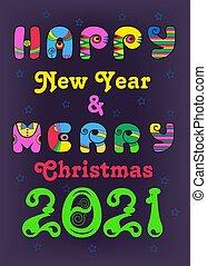 feliz, 2021, novo, hippie, ano, feliz natal
