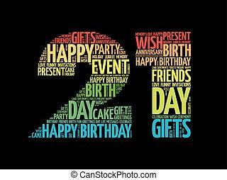 feliz, 21, cumpleaños, palabra, nube