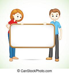 feliz, 3d, pareja, en, vector, tenencia, cartel