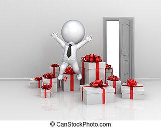 feliz, 3d, pequeño, persona, con, mucho, de, regalo, boxes.
