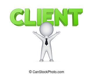 feliz, 3d, pequeño, persona, y, palabra, client.