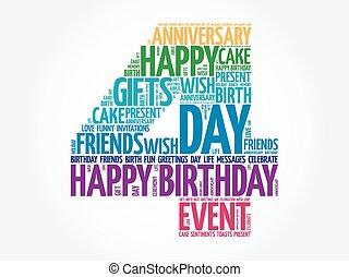 feliz, 4, cumpleaños, palabra, nube
