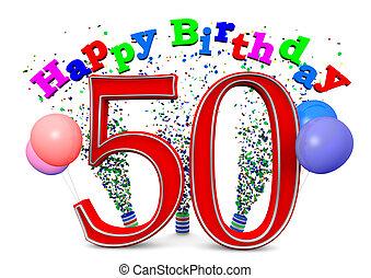 feliz, 50th, cumpleaños