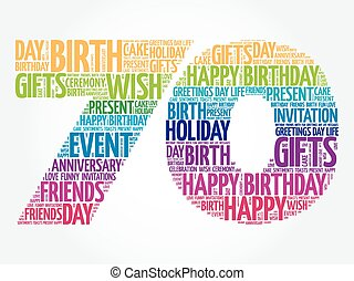 feliz, 70th, cumpleaños, palabra, nube