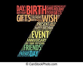 feliz, 7o, aniversário, palavra, nuvem