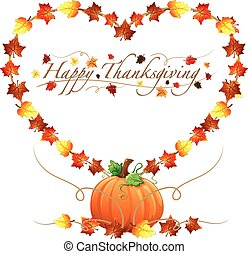 feliz, ação graças, coração, e, pumpki