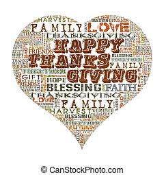 feliz, ação graças, forma coração