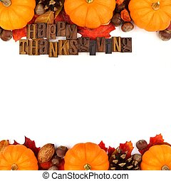 feliz, ação graças, madeira, letterpress, com, outono, dobro, borda, isolado, branco