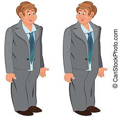 feliz, ação judicial cinza, homem, laço, ficar, verde, caricatura