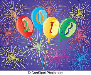 feliz año nuevo, 2013, globos, ilustración